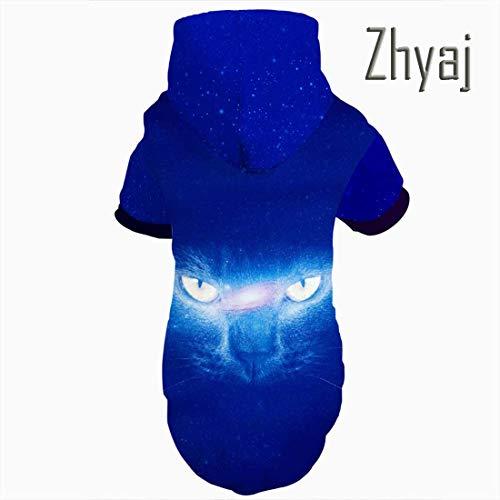 Zhyaj Halloween-Kostüme für Hunde Hoodie Mit Leine Loch Einzigartige 3D Gedruckt Lebensechte Auge des Leopard Coole Mode Walking Party Outfit Pet Kostüm für Hund Katze (Einzigartige Kostüm Für Hunde)