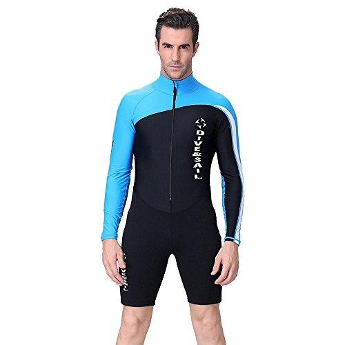 A Point diving Neoprenanzug zum Tauchen, mit kurzem Bein und langen Ärmeln, für Herren/Damen Blau - men's blue