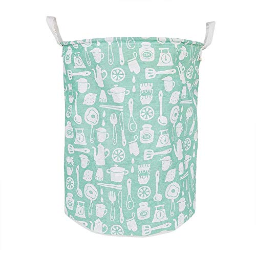 Missoul Laundry Basket Foldable Waterproof Washing Basket Folding Laundry Hamper Large Size Cylindrical Burlap Canvas Storage Basket, Green Tableware (Green Tableware) -