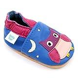 Dotty Fish Weiche Lederschuhe für Babys und Kleinkinder Rutschfeste Wildledersohle. Blau mit rosa Eule. 6-12 Monate