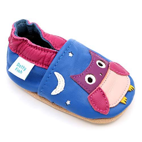 Dotty Fish weiche Leder Babyschuhe. Rutschfesten Wildledersohlen. 18-24 Monate (23 EU). Blau mit rosa Eule. -