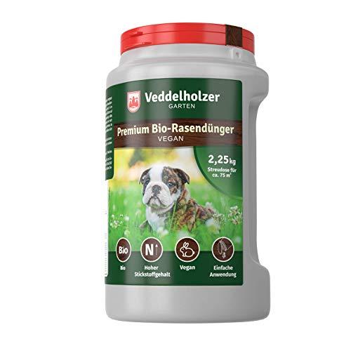 Bio Rasendünger Vegan im wiederverwendbarem Handstreuer, 3 Monaten Langzeitwirkung aus 100 % natürlichen Inhaltsstoffen ideal für Frühjahr bis Herbst, staubarmes Granulat, unbedenklich für Haustiere