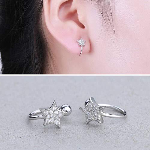 Katylen Frauen 925 Silber Ohrringe S925 Sterling Silber Inlay Stein Stern Ohrclips Mode Joker Silberschmuck, 925 Silber