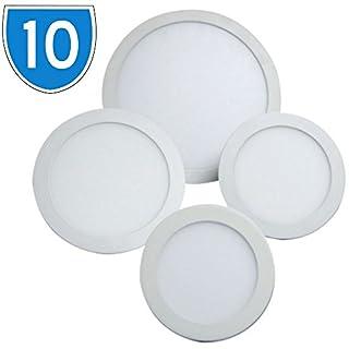 10x Hispec 15w Circular Recessed Ceiling Slimline LED Panel Light 6400K Daylight Office, Shop, Home Hallway, Bedroom Lamp Downlight