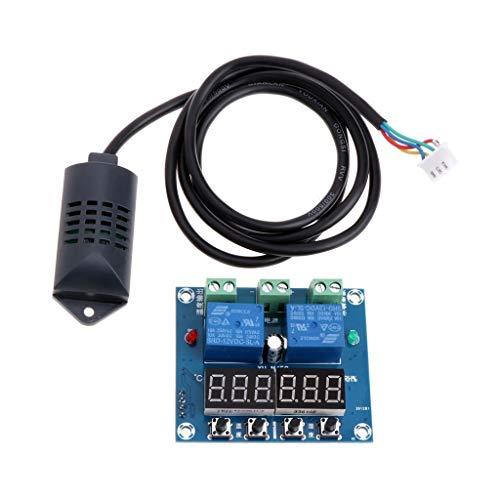 Skitior Precisión Controlador de Control de Humedad y Temperatura DC 12V, humidistato...