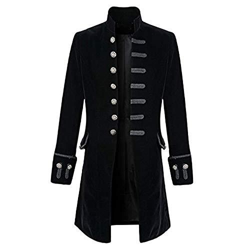 Zolimx Vintage Herren-Mantel Print Langarm Herrenjacke Stehkragen Mode Smoking Jacke Gothic Gehrock Uniform Kostüm Praty Trenchcoat Windbreaker Steampunk GrabenOutwear (Schwarz 1, - Herren Gothic Kostüm