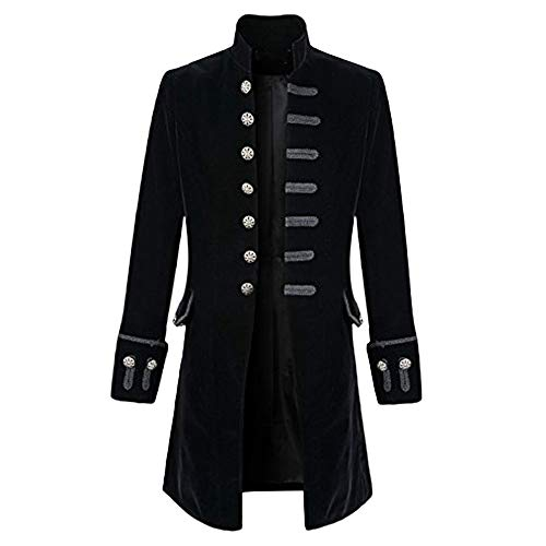 Zolimx Vintage Herren-Mantel Print Langarm Herrenjacke Stehkragen Mode Smoking Jacke Gothic Gehrock Uniform Kostüm Praty Trenchcoat Windbreaker Steampunk GrabenOutwear (Schwarz 1, ()