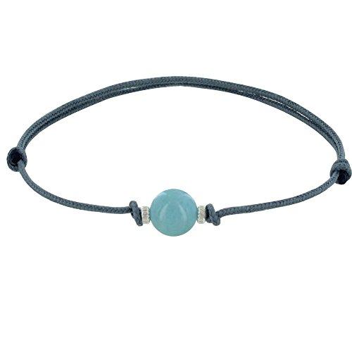 Schmuck Les Poulettes - Armband Synthetisch Link Larimar Perle und Zwei Silber Ringe - Grau (Larimar-schmuck)