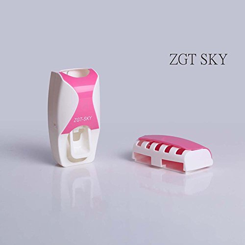 Delleu Automatischer Zahnpasta-Spender + 5 Zahnbürstenhalter Set Wandhalter Weinrot Rose -