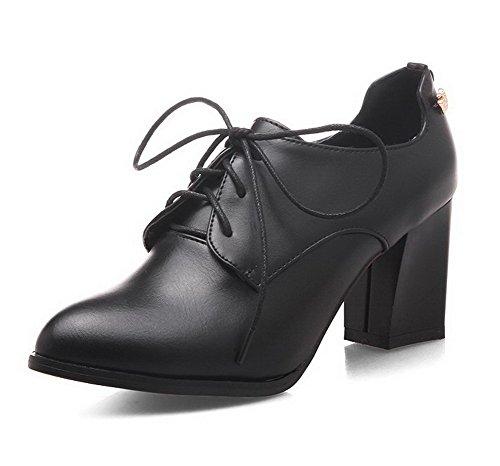 AllhqFashion Damen Spitz Zehe Hoher Absatz Weiches Material Eingelegt Schnüren Pumps Schuhe Schwarz