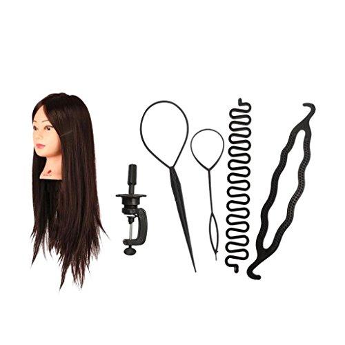 MagiDeal Friseur Trainingsköpfe Übungsköpfe mit langen haaren für Salon Frisör Ausbildung mit Tischhalter + Mädchen Damen Haar Brötchen Styling Braid Werkzeug Set