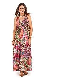 14afe618e Pistachio Women's Peacock Feather Summer Maxi Dress