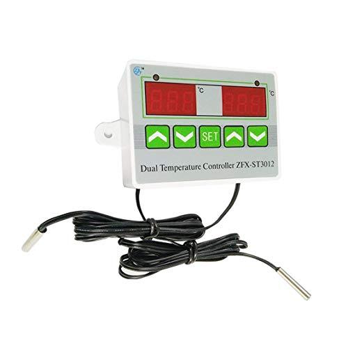 Dual-thermostat (Hermosairis ZFX-ST3012 Intelligente Digitale Temperaturregler Elektrische Thermostat Temperaturschalter Dual Display Controller)