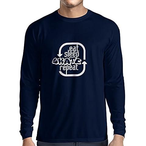 N4194L Long sleeves t-shirt Eat Sleep Skate Repeat t-shirt (Large Blue White)