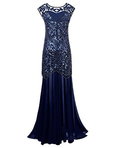 Kayamiya Damen 1920er Jahre Perlen Pailletten Floral Maxi Lange Gatsby Flapper Abendkleid 44-46 Blau - 2