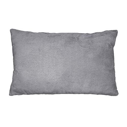 Douceur d'Intérieur Coussin Suède Polyester/Fibre Gris Clair 30 x 20 x 50 cm