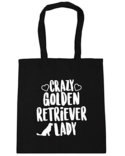 hippowarehouse-crazy-golden-retriever-lady-tote-shopping-gym-beach-bag-42cm-x38cm-10-litres