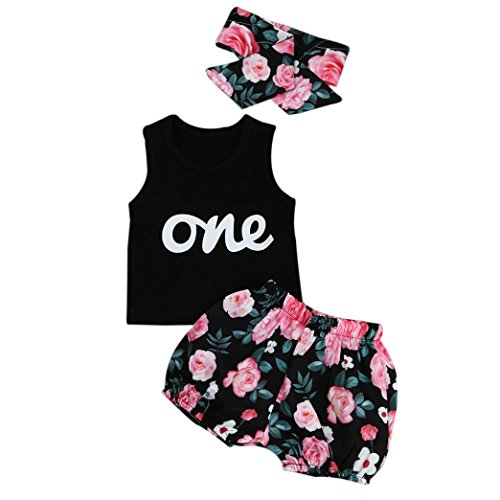 Babykleidung Sommer, Bekleidung Longra Baby Mädchen Outfits Kleidung T-Shirt Tops + Hosen + Stirnband Set(0-24Monate) (90CM 12-18Monate, Black) (Outfit-kleidung-shop)