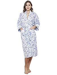 25b6845556 Cottonreal  Kendal  Shadow Stripe Imperial Rose Floral Print Dressing Gown  - Mist Blue