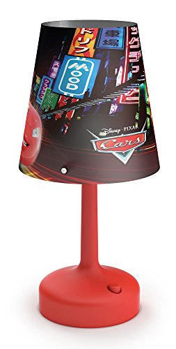 Image of Philips Disney Cars Portable LED Children's Bedside and Table Lamp, Integrated LED, Battery Operated - Red