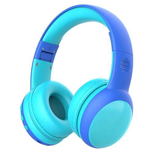 gorsun Kopfhörer für Kinder, Bluetooth Kinderkopfhörer mit 85 dB Lautstärkebegrenzung, Leichte Kinder Kopfhörer mit anpassbarer Kopfband - Blau