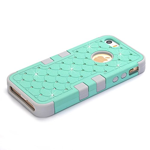iPhone 5 5S hüll,iPhone SE hüll,Lantier verzierte Rhinestone KristallBling Elegante 3 in 1 Doppelschicht Schockfeste schroffe Verteidiger Abdeckung für Apple iPhone 5/5S/SE Rose Gold+Schwarz Cute Rhinestone Mint Green+Grey
