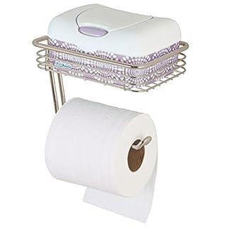mdesign toilettenpapierhalter mit ablageflche praktischer toilettenrollenhalter aus metall inkl ablage fr feuchttcher - Moderner Freistehender Toilettenpapierhalter
