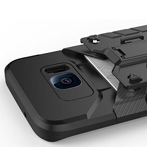 Note5 Coque,EVERGREENBUYING [Robot-Armor] léger 2 en 1 N9200 Cases [Metal Slate] Housse Etui Premium Kickstand Bumper Hard Shell Back Coque Case Pour Samsung Galaxy Note 5 Noir Bleu