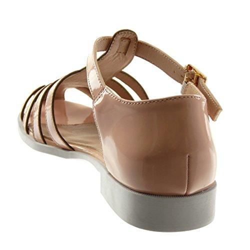 Angkorly Chaussure Mode Sandale Lanière Cheville Spartiates Femme Verni Boucle Doré Talon Bloc 2 CM Rose clair