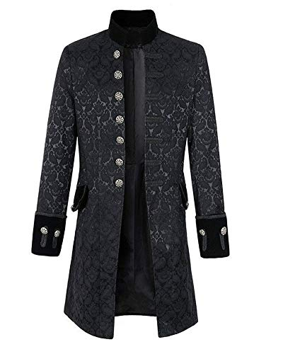 Runyue Chaqueta Medieval para Hombres de Desfile Militar Punk Percusionista Halloween Abrigo Gothik Jacket Negro L