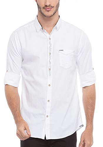 Spykar Mens White Slim Fit Mid Rise Casual Shirts