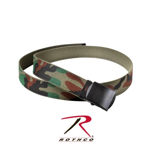 Rothco Armee Camouflage Farbe Military Web Belt (Woodland Camo-Schwarz Schnalle, 111,8cm) -