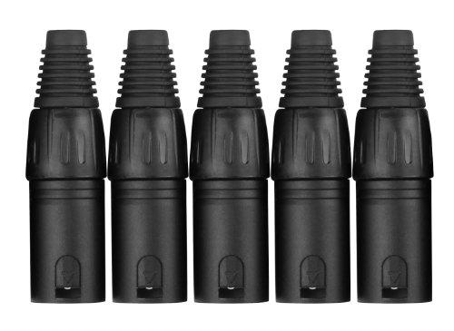 Pronomic Steckerset XLR-Male 5-Stück (zur Kabelkonfektionierung, Montage, Hochwertige Spannzangen-Zugentlastung, stabiles Druckguss-Gehäuse) schwarz