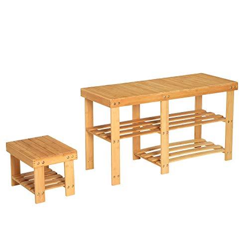 Songmics panca scarpiera in bambù con sgabello per bambini, set di 2 scarpiere, portascarpe a 3 ripiani, organizzatore di stoccaggio da ingresso, per corridoio, camera da letto, naturale lbs20nl