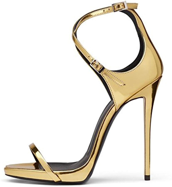 SHINIK Zapatos de mujer Europa y Estados Unidos Bolso de señora de charol dorado con hebilla cruzada Sandalias...