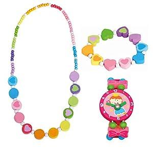 Bino 3 tlg. Set Holzschmuck Mädchen Motiv Regenbogen – Halskette Armband (Regenbogen Herz) und Armbanduhr