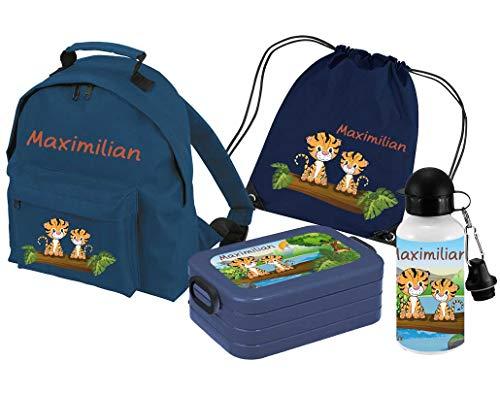 Mein Zwergenland Set 5 Kindergartenrucksack Classic und Brotdose Lunchbox Maxi, Turnbeutel + Trinkflasche mit Name Tiger, 4-teilig, Navy -