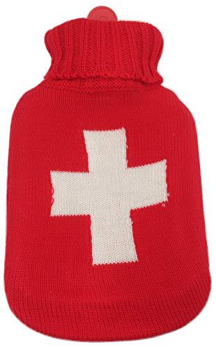 G101X Schicke Wärmflasche mit Strick-Überzug (Rot mit weissem Kreuz)