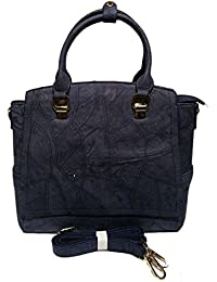 Magnolia Handbag For Women In Navy Blue Colour With Long Belt And Three Compartment