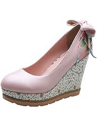 Damen Keilabsatz Runde Zehe Schnürhalbschuhe mit Blumen und Perlen Bequeme Schuhe Agodor JBdteicso