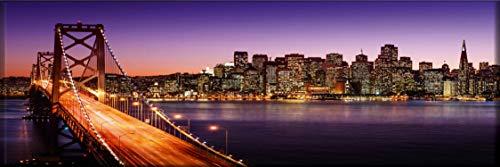 Homedeco-24 Wandbild Leinwand, Panorama - New Yorker Skyline mit Brooklyn Bridge bei Nacht 50 x 150 cm - Brooklyn Bridge Skyline