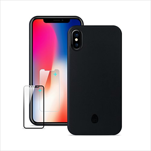 Funda iPhone X, Ultra delgada y ligera totalmente envuelta ,Funda iPhone X, iPhone X Funda delgada con pantalla de cristal templado gratis Protector