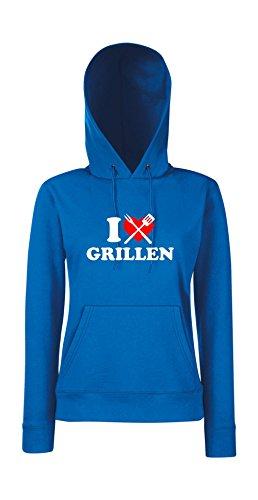 Kapuzenpullover für Frauen - I love Grillen Blau