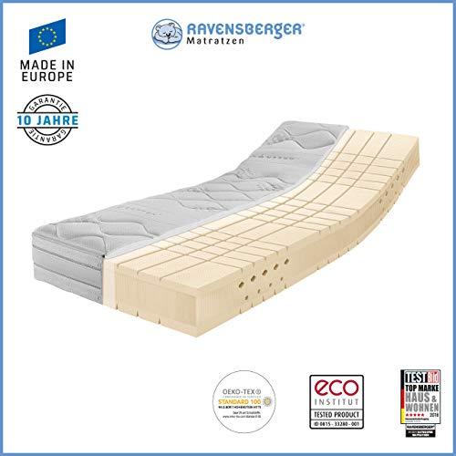 Ravensberger Matratzen® TALALAY® Premium Latexmatratze 100{6a84f49d4035ceafa8f345d92b4e410364326ab5d8ec72a24ebc17c54f6ec5d1} Naturlatex| 7-Zonen Komfort-Matratze H2 + H3 RG 66 (45-80 kg) | Made IN Europe - 10 Jahre Garantie | Baumwoll-Doppeltuch Bezug 90x200 cm