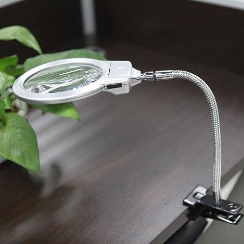 KKmoon 2.5X 107MM & 5X 24MM LED Orgnette Lampe Loupe de Table, Tuyau de Métal avec Clamp