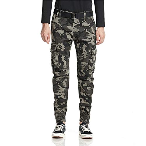 friendGG Men's Cargo Regular Trouser Camouflage Combat Work Trouser Workwear Pants with Pocket