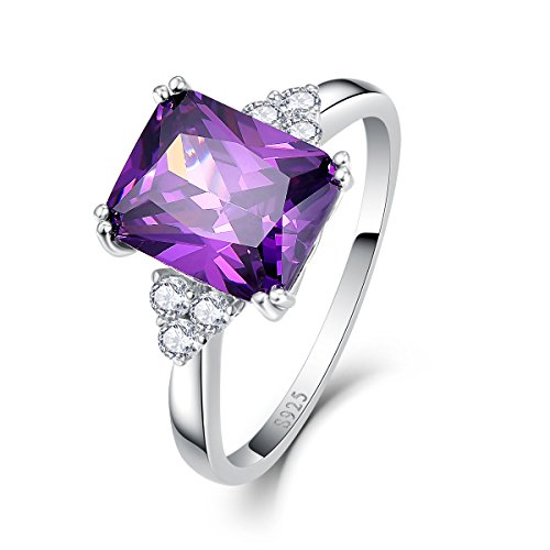 - Amethyst-ring-rund (Bonlavie  - FINERING 925 Sterling-Silber  Sterling-Silber 925 Brilliant Rund Smaragdschliff   Feines Weiß/Top Wesselton (G) - Weiß/Wesselton (H) Améthyste Oxyde de Zirconium)