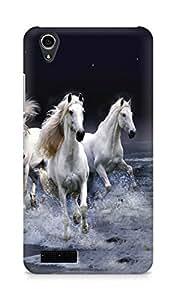 Amez designer printed 3d premium high quality back case cover for Lenovo A3900 (White Horses)