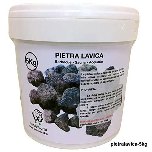 LordsWorld - Pietra Lavica - 5Kg Pietra Lavica para la Barbacoa, Sauna y decoración del Acuario - Roca...