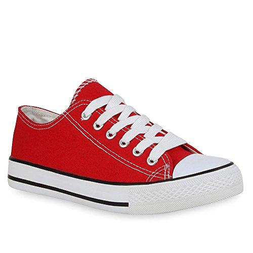 Damen Schuhe Sneakers Sportschuhe Freizeit Stoffschuhe 41216 Rot 37 Flandell